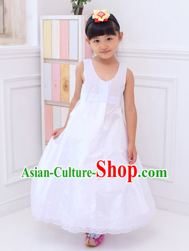 Korean Traditional Pure White Skirt Inside Clothing for Girls