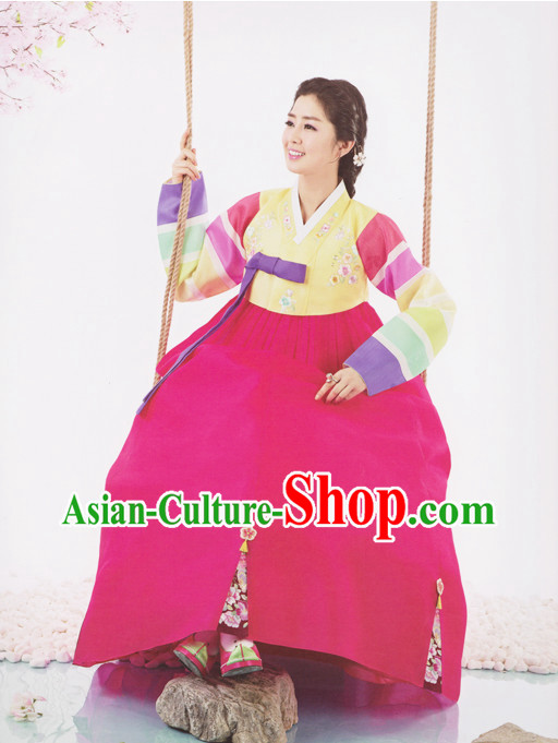 Korean Beautiful Wife Traditional Dresses Hanbok Clothes Complete Set