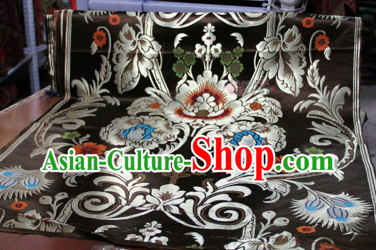 Chinese Traditional Black Brocade Embroidered Fabric Dresses Material