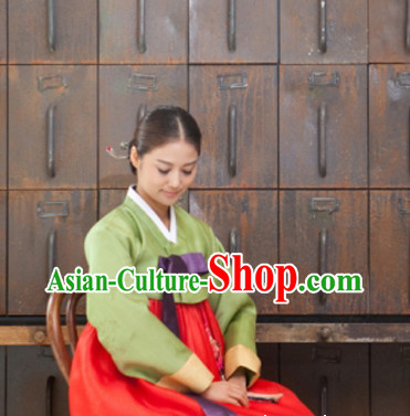 Korean Traditional Dresses Lady Plus Size Uniform Complete Set
