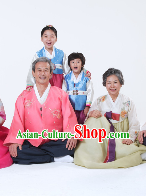 Traditional Korean Clothing 4 Sets for Grandmother Grandfather and Kids