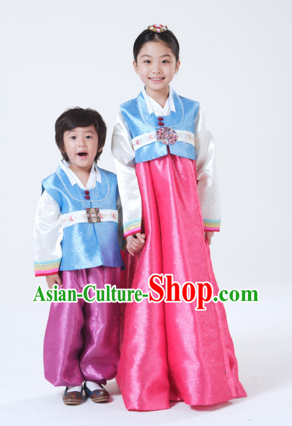 Traditional Korean Clothing 2 Sets for Brother and Sister