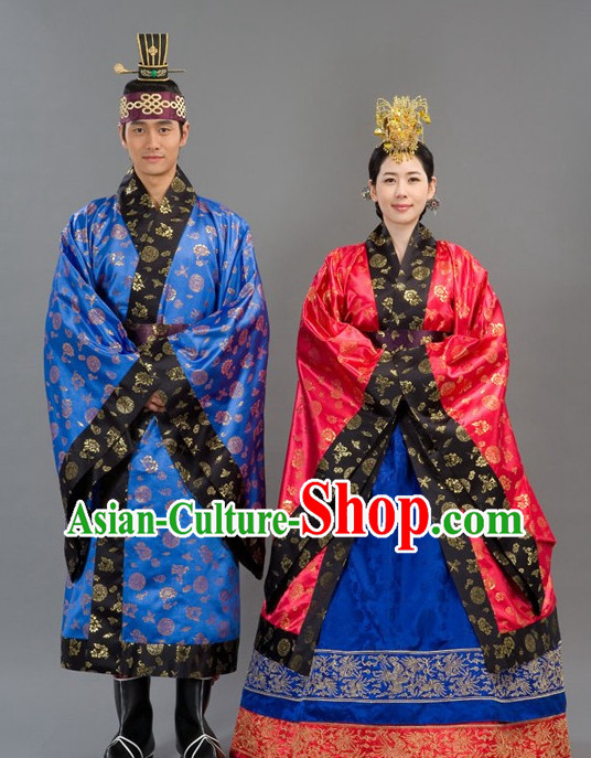 Traditional Korean Emperor and Empress Royal Clothing Costumes 2 Sets