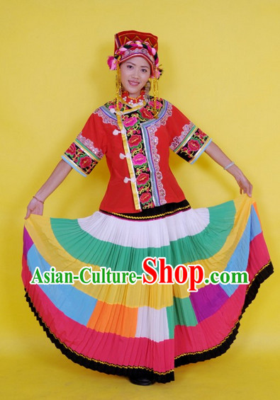 Chinese Stage Dance Costumes Female Ethnic Groups Dress