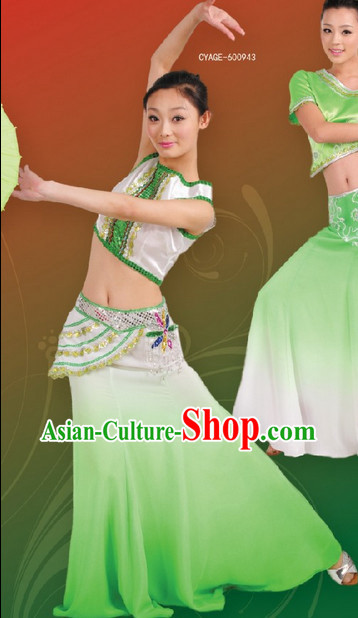 Chinese Dai Dancing Ethnic Costume Complete Set for Women