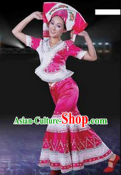 Chinese Zhuang Ethnic Costumes Complete Set for Women