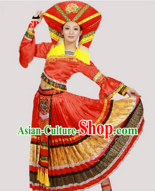 Chinese Costumes Zhuang Ethnic Dance Costume Complete Set for Women