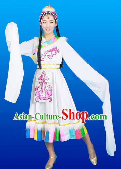 Chinese Tibetan Dance Costumes Female Ethnic Groups Clothes