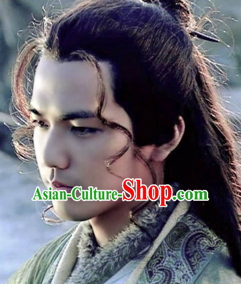 Zhong Hanliang Yi Shuihan Asian Chinese Ancient Traditional Male Curly Long Wig