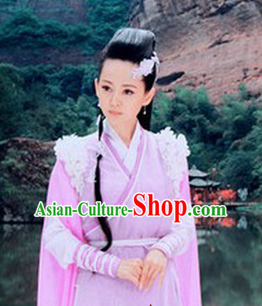 Asian Fashion Swordswoman Traditional Clothes and Headwear Complete Set