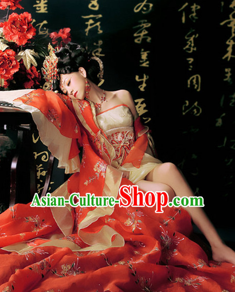 Chinese Wedding Dress and Hair Jewelry Full Set