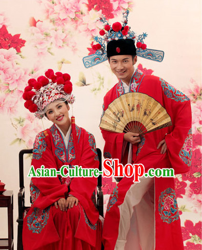 Chinese Traditional Wedding Dress and Hats Complete Set