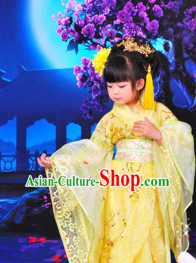 Chinese Traditional Princess Dress and Hat Complete Set for Kids