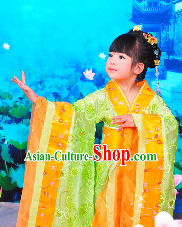 Chinese Traditional Princess Kids Costumes and Hair Clips