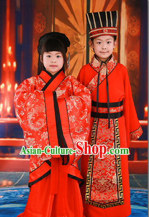 Chinese Traditional National Costume Wedding Dress Outfits 2 Sets for Kids