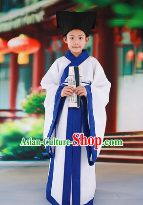 Chinese Traditional Student Costumes and Hat for Kids