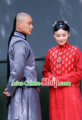 Chinese Traditional Mandarin Dress and Headpieces 2 Sets