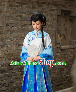 Chinese Traditional National Costumes Noblewoman Mandarin Dress and Fan Complete Set