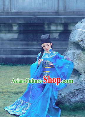 Chinese Traditional National Costumes Scholar Costume and Hat for Men or Women