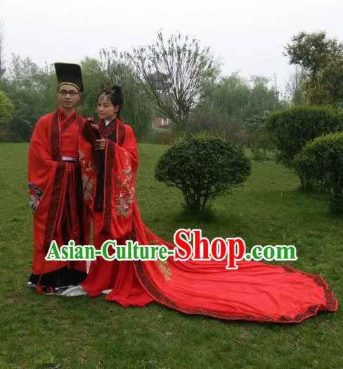 Traditional Chinese Hanzhuang Wedding Bridal Dress and Headpieces Free Delivery Worldwide