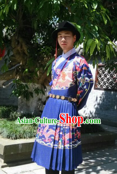 Traditional Chinese Ming Dynasty Dragon Robe Hanzhuang Han Clothing for Men Free Delivery Worldwide