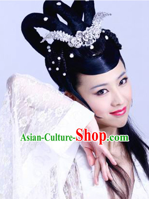 Chinese Traditional Handmade Black Wig and Hair Ornaments