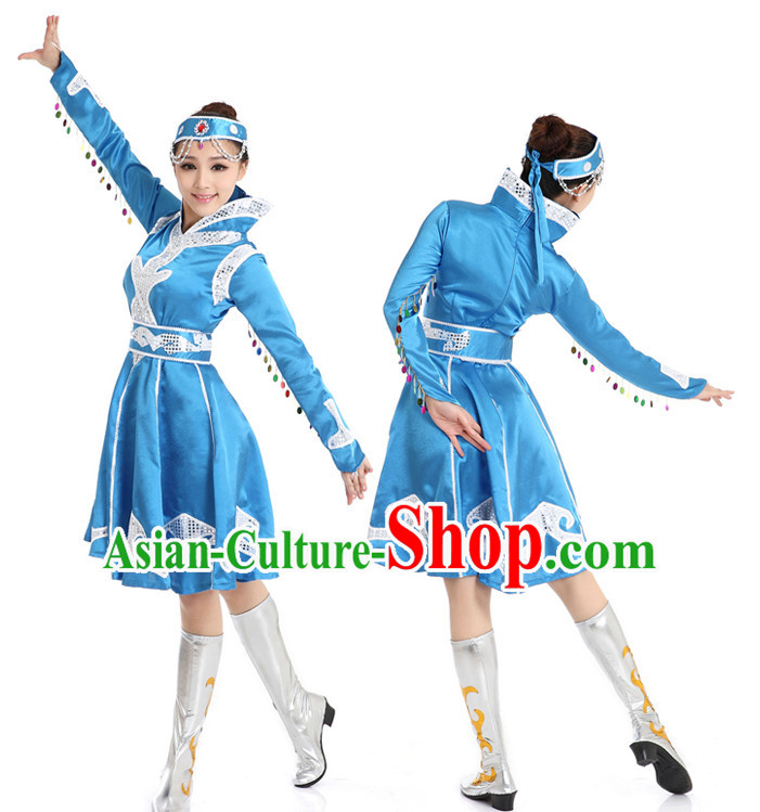 Chinese Traditional Mongolian Dance Suppy and Headwear Complete Set