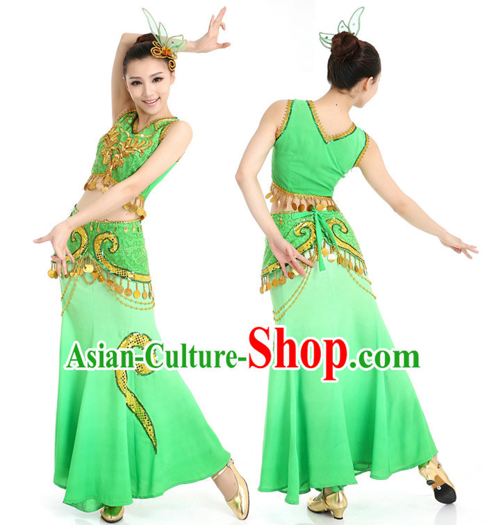 Chinese Traditional Yunnan Peacock Dance Costumes Suppy and Headwear Complete Set
