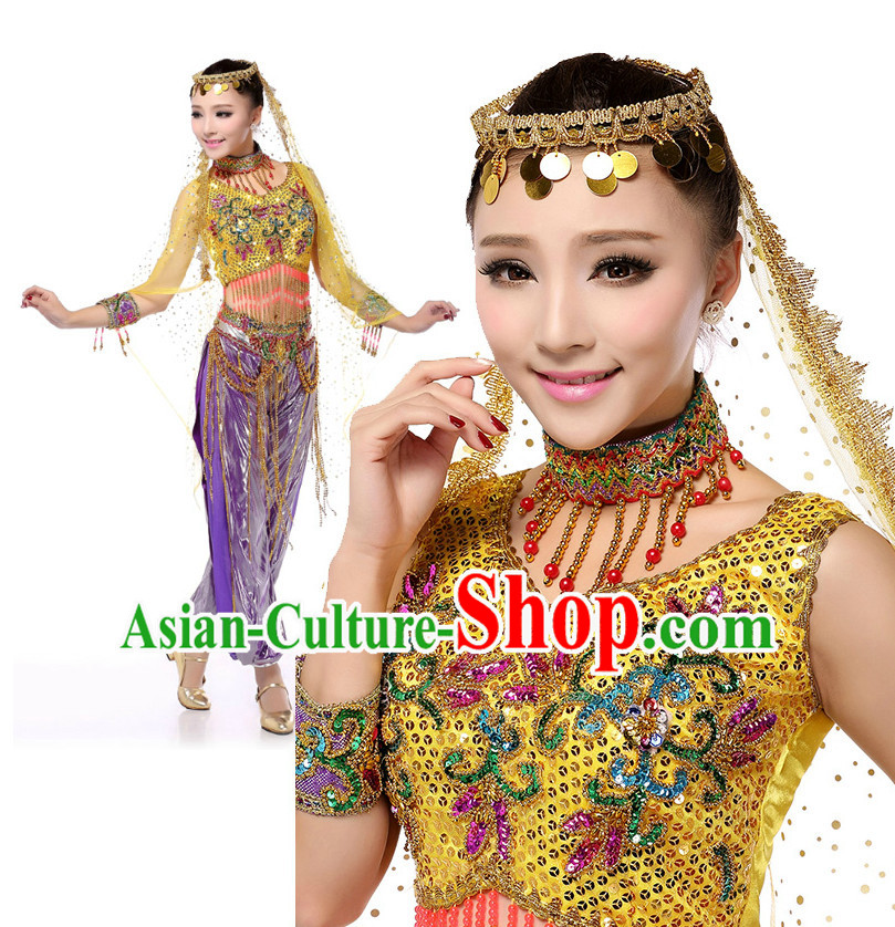 Chinese Traditional Xinjiang Dance Costumes Suppy and Headpieces Complete Set