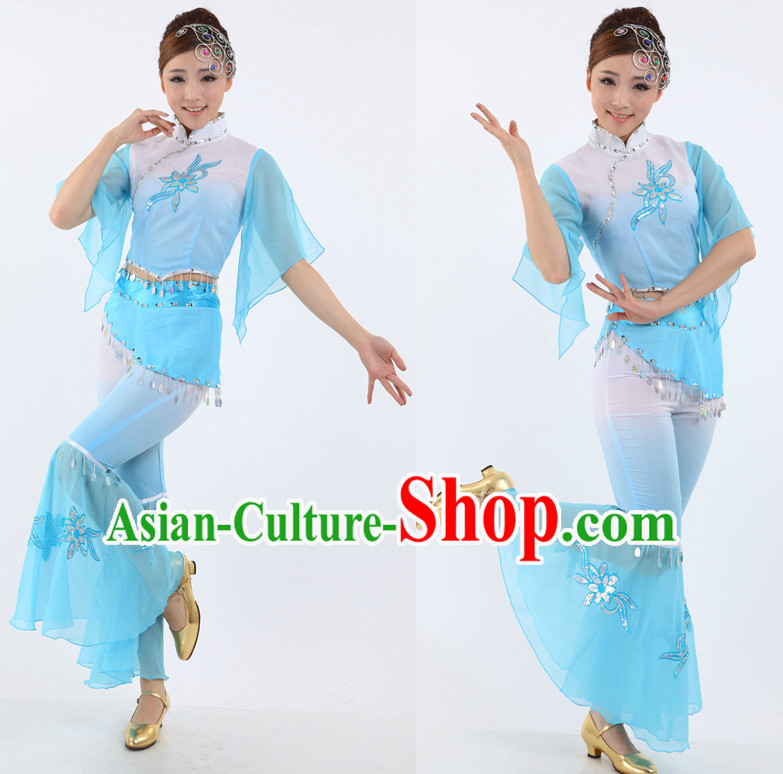 Chinese Fan Dance Costumes Apparel Dance Stores Dance Gear Dance Attire for Women
