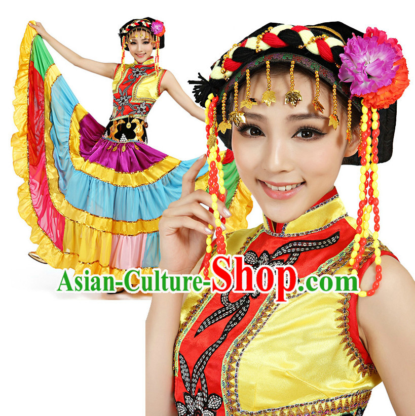 Chinese Traditional Yi Dance Costumes Apparel Dance Stores Dance Gear Dance Attire and Hair Accessories Complete Set for Women