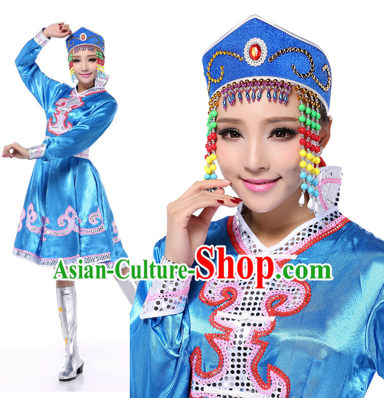 Chinese Meng Gu Dance Costumes Apparel Dance Stores Dance Gear Dance Attire and Hair Accessories Complete Set for Women