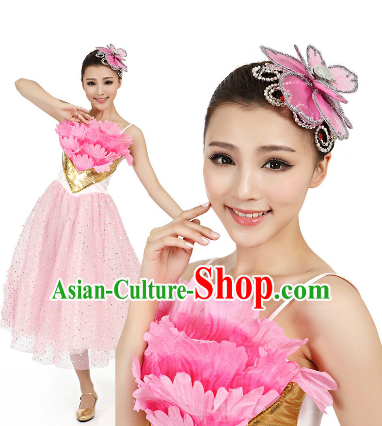 Chinese Traditional Dance Apparel Dance Attire and Headpiece Complete Set