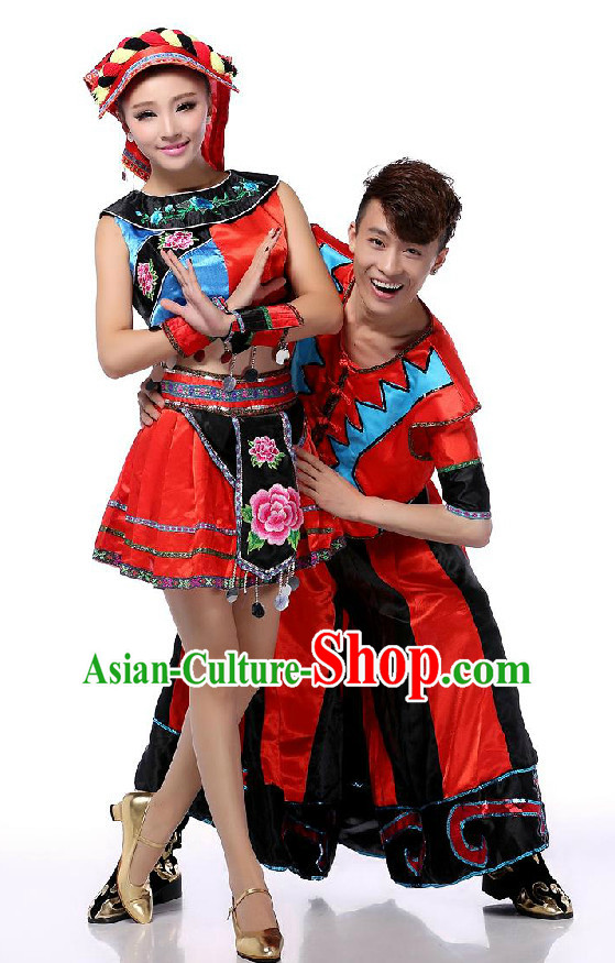 Chinese Traditional Minority Dance Apparel Dance Attire and Headpiece Complete Set for Men and Women