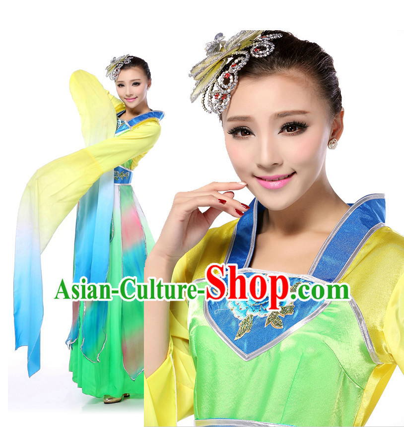 Chinese Traditional Classical Dancing Apparel Dance Attire and Headpiece Complete Set for Women
