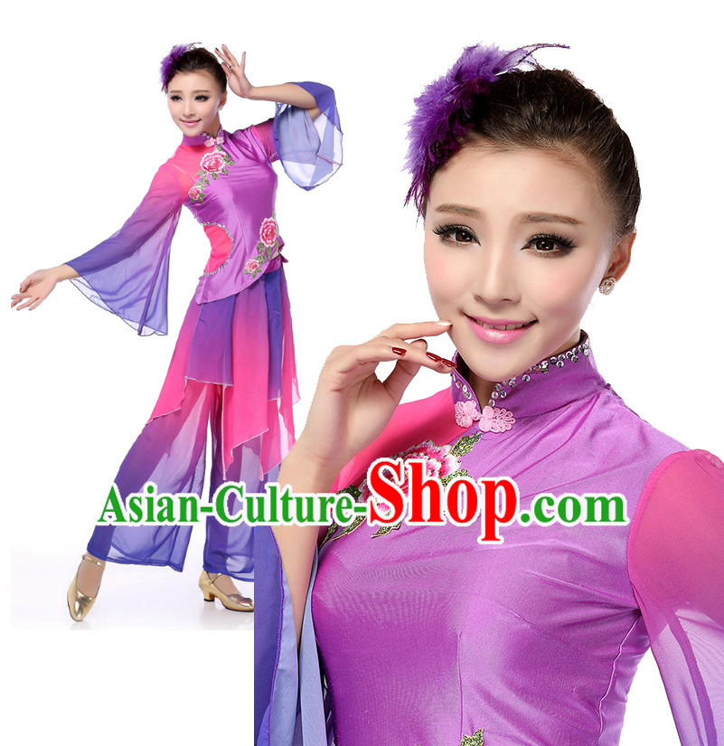 Chinese Traditional Fan Dance Apparel Dance Attire and Headpiece Complete Set for Women