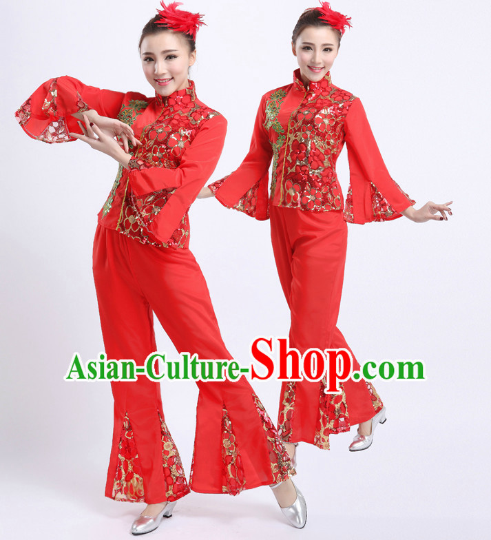 Chinese Traditional Han Ethnic Dancing Apparel Dance Attire and Headpiece Complete Set for Women
