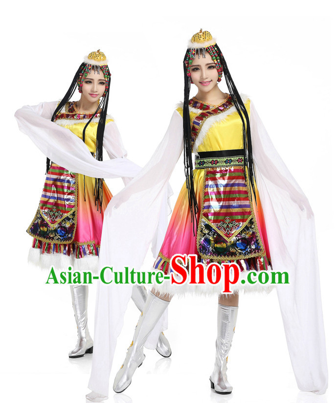 Chinese Traditional Tibetan Dancing Apparel Dance Attire and Headpiece Complete Set for Women