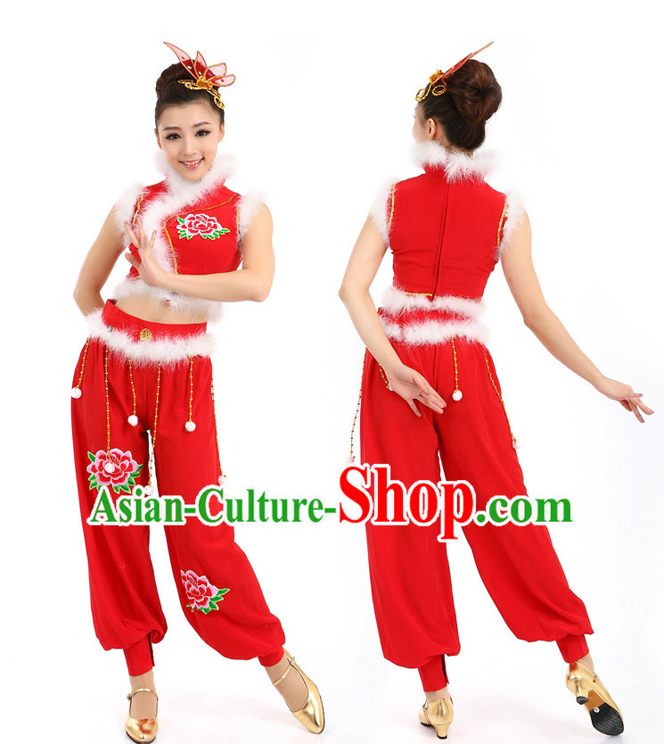 Chinese New Year Dancing Costumes Apparel Dance Stores Dance Gear Dance Attire and Hair Accessories Complete Set for Women