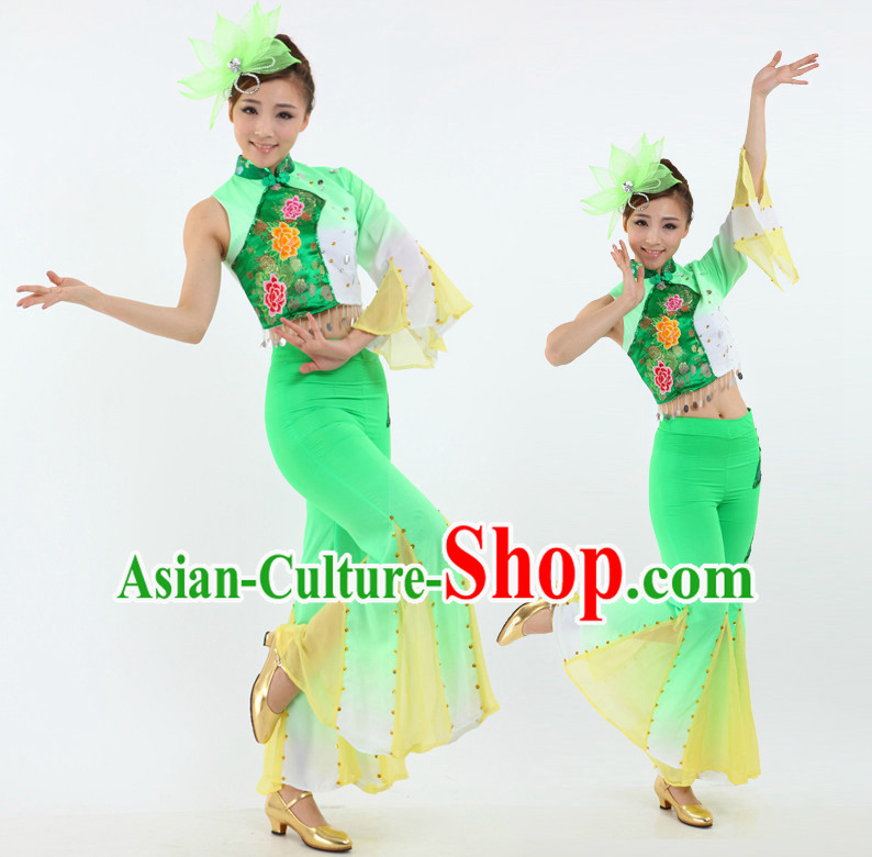 Chinese Fan Dancing Costumes Apparel Dance Stores Dance Gear Dance Attire and Hair Accessories Complete Set for Women