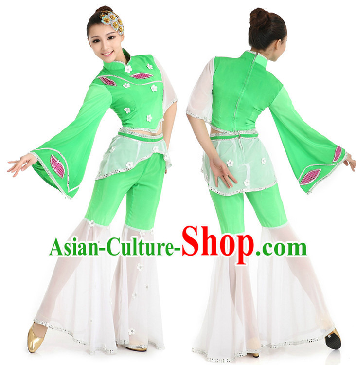 Chinese Stage Fan Costumes Apparel Dance Stores Dance Gear Dance Attire and Hair Accessories Complete Set