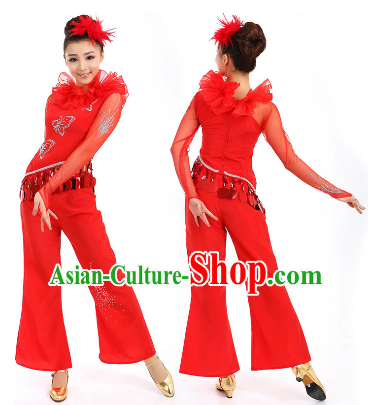 Chinese Red Stage Costumes Dance Stores Dance Gear Dance Attire and Hair Accessories Complete Set