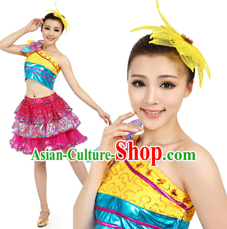 Asian Chinese Dancing Costume Dance Stores Dance Gear Dance Attire and Hair Accessories Complete Set