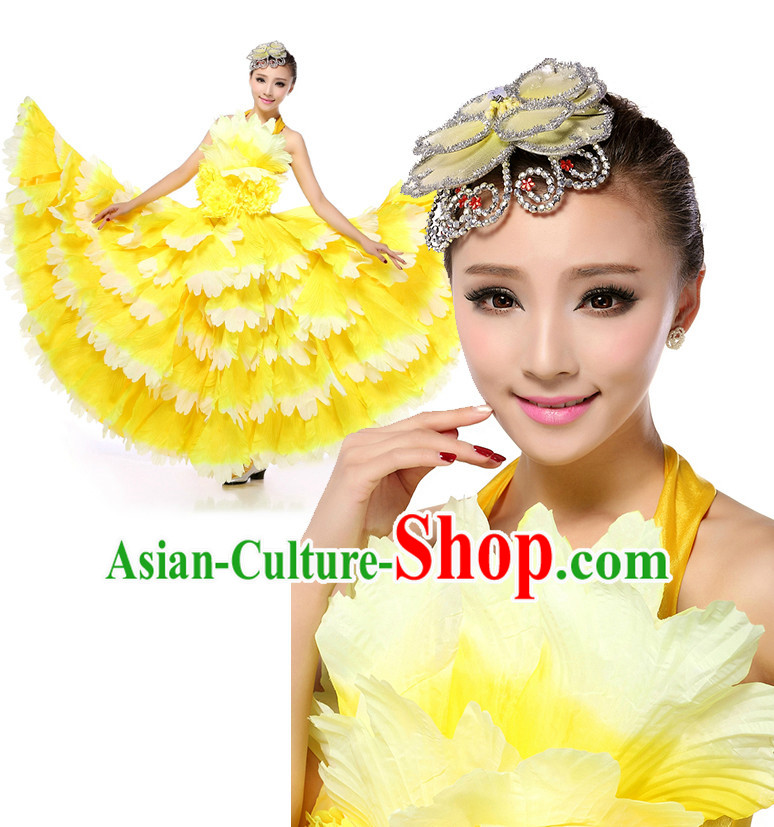 Asian Chinese Petal Dance Costume Dance Stores Dance Gear Dance Attire and Hair Accessories Complete Set