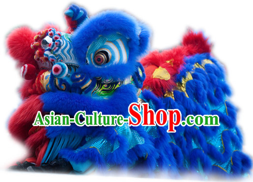 Half Red Half Blue Top Handmade Traditional Chinese Liion Costumes Complete Set
