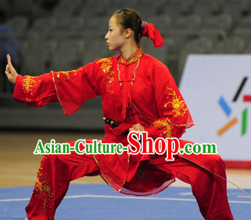 Top Red Tai Chi Sword Clothing Yoga Wear Yang Tai Chi Quan Kung Fu Pants Mantle Uniforms for Women