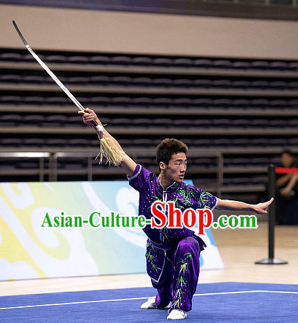Top Embroidered Bamboo Martial Arts Uniform Supplies Kung Fu Southern Swords Broadswords Championship Competition Superhero Uniforms for Men