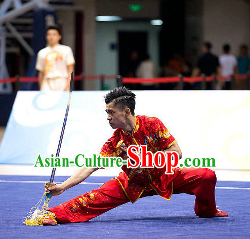 Top Red Giant Dragon Embroidery Martial Arts Uniform Supplies Kung Fu Southern Swords Broadswords Championship Competition Uniforms for Men