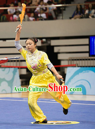 Top Yellow Kung Fu Broadsword Costume Martial Arts Broadswords Costumes Combat Competition Clothing for Women