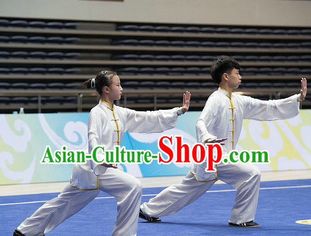 Top White Tai Chi Costumes Taijiquan Costume Aikido Chikung Tichi Uniforms Quigong Uniform Thaichi Martial Art Qi Gong Combat Clothing Competition Uniforms for Women or Men